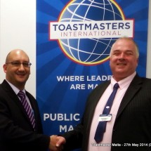 President Mark Fenech and I at Toastmasters Malta